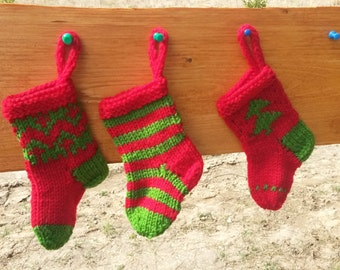 Mini Christmas Stockings Hand Knitted Set of 3 Christmas Gift Christmas Decoration Stocking Ornament