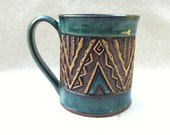 Hand Carved Aztec Mug -  Slab Built - Turquoise Blue Green - Triangles Zig Zag Rustic & Highly Textured - Earthy Unique Original - 14 oz