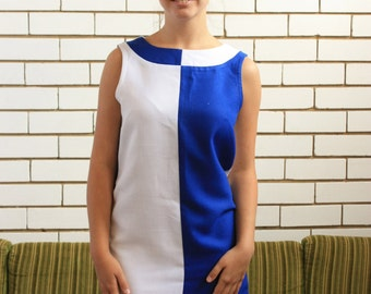SALE WAS 30 - Blue and White Retro Shift Dress
