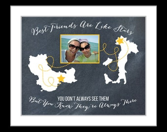 Best Friend Gift, Personalized Birthday Gift, Moving Away Present, Long Distance Friendship Gifts, Photo Quote Print Custom BFF Stars Maps