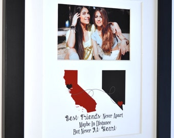Good friends gift for childhood friendship going away two state maps never apart quote photo gifts personalized present red and gold colors