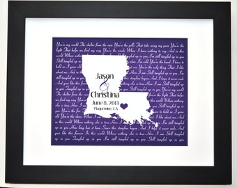 Louisiana song lyric art print state wall art louisiana map girlfriend anniversary present custom home state print gift for husband wife son