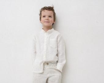 Boys linen shirt Mandarin collar shirt Toddler boy long sleeve ivory shirt Wedding party Baptism shirt Boys clothes Summer clothes