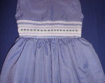 Smocked gingham blue dress