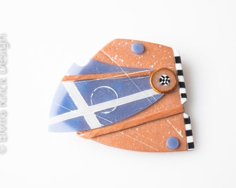 Art brooch, polymer clay brooch, unique Dutch Design,