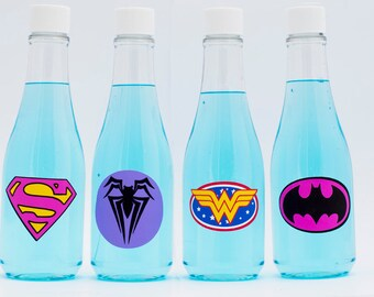 5 or More, Girl Superhero Soda Bottles, Plastic Soda Bottles, Girl Superhero Party Drink Bottles, Super Hero Girl Soda Bottle SD001