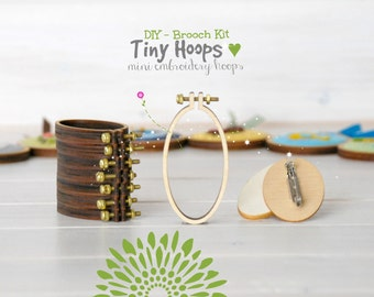 DIY Brooch Kit - Mini Embroidery Hoop Frame with Brooch - 34mm x 62mm Oval Hoop - Miniature Embroidery Oval Hoops - DIY Mini Brooch - Oval