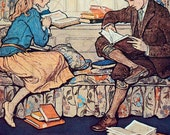 More BOOKS in the Home.  Girl And Boy READ. Books Reading Digital Download. Vintage Reading Illustration. Vintage Reading Printable Image.