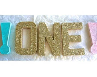 "1st First Birthday Photo Props, 8"" Glittered Letters, , ANY COLORS"