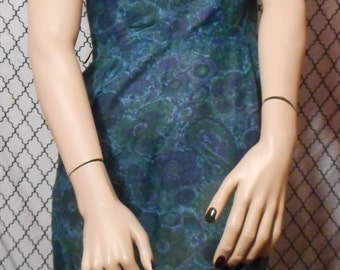 50's Vintage Blue Floral Paisley Sheath Dress with Matching Shrug from Nelly Don