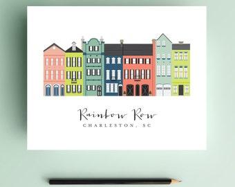 Rainbow Row Charleston 8x10 Print