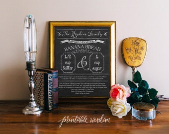 Custom recipe art print printable recipe chalkboard, family recipe personalized, pdf digital typography kitchen wall art decor decoration
