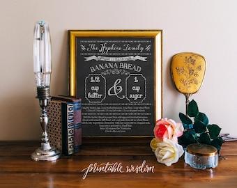 Custom recipe art print printable recipe chalkboard, family recipe personalized, pdf digital typography kitchen wall art decor decoration