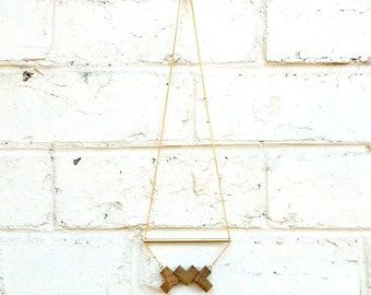 Recycle Wooden Necklace with Brass and Gold Plated Chain