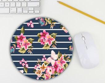 Mouse Pad / Stripe Mouse Pad / Floral Mousepad