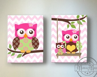 Owl Wall Art for Nursery - OWL Canvas art, Baby Girl Nursery Owl Decor , Nursery Art , Baby Girl Room Decor, Pink and Brown Nursery Decor