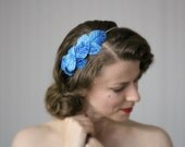 "Turquoise Headpiece, Blue Fascinator Leaves Headband, 1950s Hair Accessory, Leaf Hairpiece, Vintage - ""Voice of the Sea"""