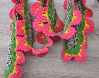 Wool crochet scarf edged with Oyas,Warm scarf for cold days