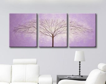 "SALE Canvas Art Purple Wall Art Wall Hangings Original Tree Paintings Abstract Modern Art Lavender Trees Home Decor Wall Decor 48""x20"""