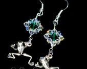 Frog Earrings - Green Swarovski Earrings - Silver Frog Earrings - Frog Jewelry - Green Frog - Silver Earrings - Bipolar Awareness