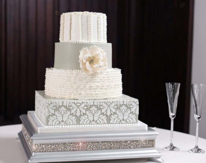 18 inch Square Silver Diamond Bling Cake Stand