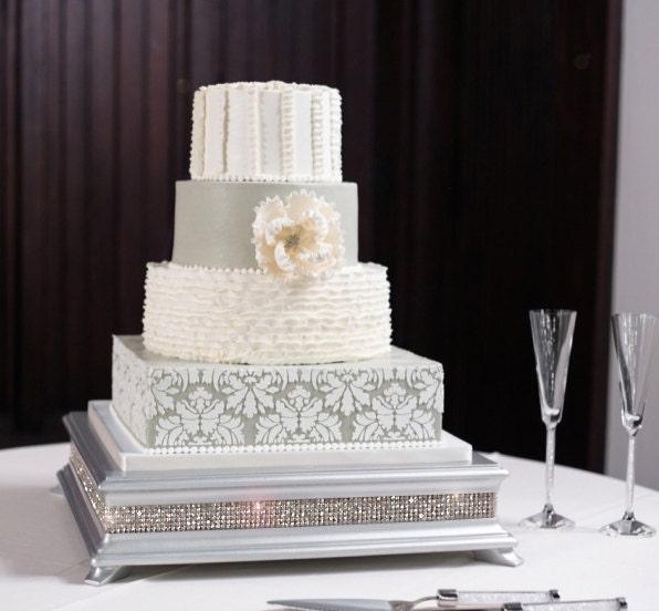 18 inch Square Silver Diamond Cake Stand