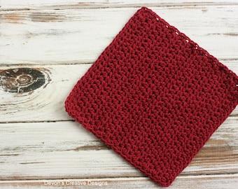 Burgundy Crochet Dishcloth or Washcloth- 100% Cotton