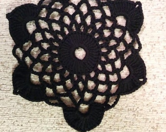 Small lace round oval black table doily napkin cover placemat centerpiece