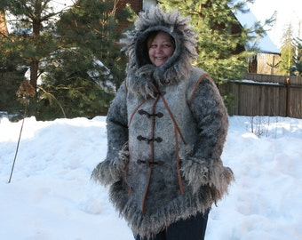 Eco style and boho chic Plus Size felted coat from natural silk and wool (with old hand dyed lace and hand embroidery) OOAK - to order!