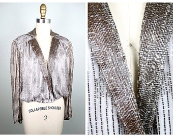VTG All Beaded Blouse // Fully Embellished Silver Beads Dress Top // Silver Sequined Beaded Long Sleeve Top