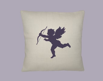 Adorable Cupid Silhouette -  HANDMADE 16x16 Pillow Cover - Choice of Fabric