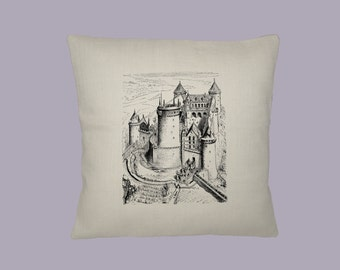 Vintage Fairytale Castle Illustration HANDMADE 16x16 Pillow Cover- Choice of Fabric - image in ANY COLOR