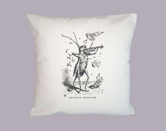Whimsical Musical Grasshopper Playing the Violin, Vintage Illustration Handmade 16x16 Pillow Cover - Choice of Fabrics, Image in ANY COLOR