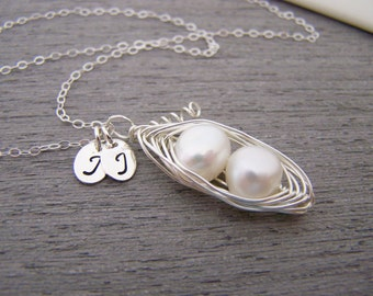 Freshwater Pearl Peapod and Initial Sterling Silver Motherhood Necklace / Gift for Mom