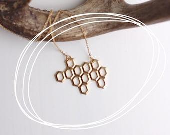 Honeycomb Geometric Necklace