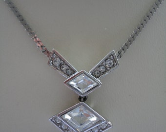 Vintage Art Deco Style Silvertone and Crystal Pendant Necklace by Attwood and Sawyer (A&S) - Gatsby/Downton - Ideal Bridal/Prom/Cruise/Races