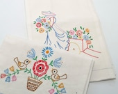 Pair Vintage Embroidered Towels, Kitchen Towels, Southwestern Decor, Linen Towel, Vintage Linens, Colorful Embroidery, Guest Towel