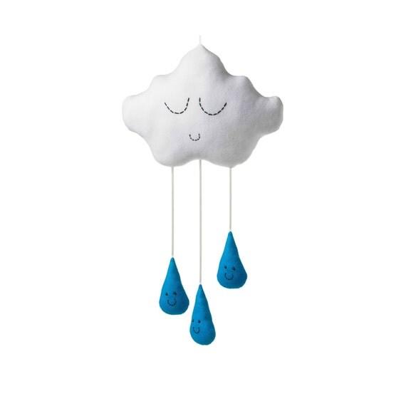 weiße Wolke Türkis hell blau regen regentropfen Baby Kinderzimmer ...
