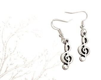 Handmade music earrings treble clef musical note silver plated earring loops geek musician
