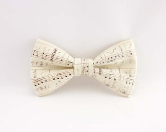 Mens bow tie cream music notes cotton print - pre tied clip on bowtie – womens bowties ivory musical design