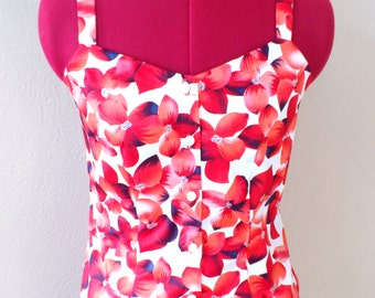 MADE TO ORDER/ Retro 50s 60s Inspired Red White Floral Printed Top/ Sleeveless/ Summer/ Spring/ Cotton Shirt