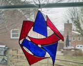 Abstract Stained Glass Suncatcher - Red and Blue Glass - Abstract Art - Modern Art - Patriotic Decor - Window Decor - Geometric Art - Gift