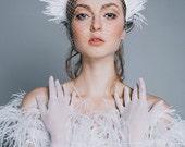 Wedding feather headpiece, bridal crown, wedding crown, bridal headdress