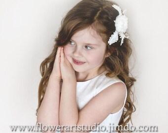 Ivory Lace Flower Hair Clip, Girl flower hair clip, Infant hair flower, Lace flower hair clip, Pearl and ivory flower clip, Flower Girl clip