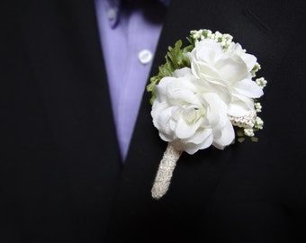 Classic Wedding Boutonniere (Boutineer) - White Roses with White Flowers Wrapped in Lace