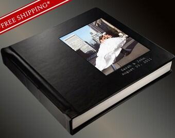 Photo Album Flush Mount Wedding Album with 2 lines of Imprinting - Custom Photo Album 10 x 10 Genuine Leather Cover - Wedding Album