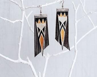 Aztec Tribal Geometric Leather Earrings/ Black Gold Earrings