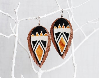 Hand Painted Aztec Genuine Leather Earrings Black/Gold/Pale Gray/Tan