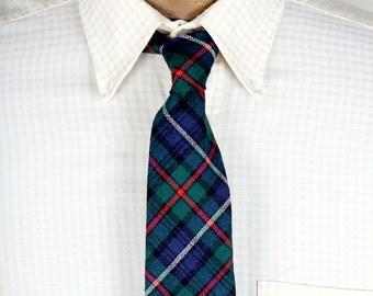 CHILDS Scottish Tartan 100 Percent Wool Plaid Necktie