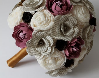 Lace, book, and paper peony bridal bouquet